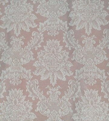 Vintage French Rose Pink Oat Cotton Rayon? Damask Fabric 2x Pillow Case Jacquard
