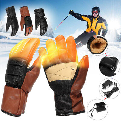 3000mAh Leather Battery Power Electric Heated Hand Winter Warm Motorcycle Gloves