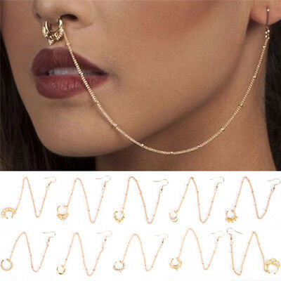 Nose to Ear Chain Nose Ring & Pierced Earring Jewelry Fashion Punk Style WL