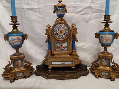 Superb C19th French Japy Freres 3 Piece Clock Garniture Set