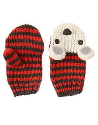 Nwt Gymboree King of Cool Red Striped Polar Bear Mittens Size 12-24 Months