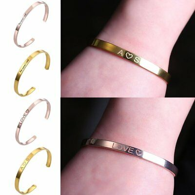 DIY Personalized Custom Engraved Name Bangle Bracelet Jewelry Mother's Day Gift