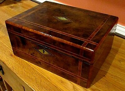 Victorian Burr Walnut Sewing/jewellery Box,inlay Bands,m.o.p.pink Lined Interior