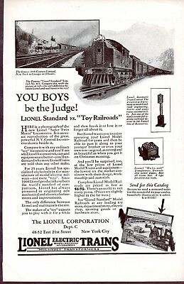 "Lionel Print Ad from November 1924 - ""You Boys be the Judge!"""