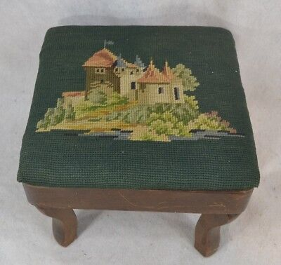 cricket foot stool needlepoint upholster Victorian style  antique original 1930