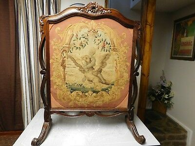 Antique Hand Carved Mahogany Needlepoint Fireplace Screen