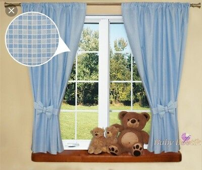 Baby Boy Nursery Curtains Blue Gingham Style With Bows