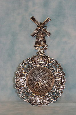 """6"""" Antique Dutch Sterling Silver Tea Strainer Working Windmill Highly Detailed"""