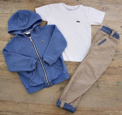 Lacoste Next Boys Small Bundle Outfit Blue Jacket Top T-Shirt Trousers Age 3-4 Y