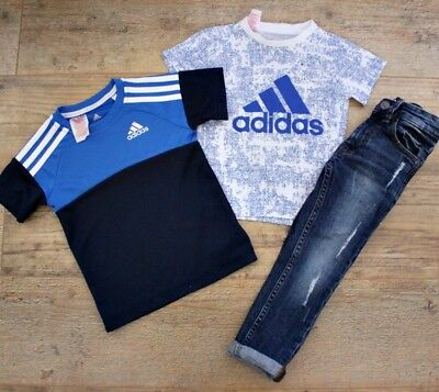 Adidas Next Boys Small Bundle Outfit Blue Jeans Top Age 2-3 Y