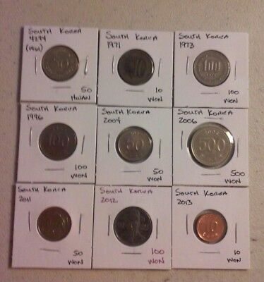 South Korea Coin Lot - (1961 to 2013) - 9 Different Carded Coins - (#CWC152)
