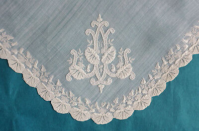 Antique small 19th century whitework embroidered handkerchief - lilies and ivy