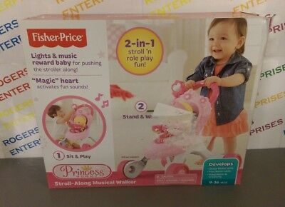 Fisher Price Princess Mommy Stroll Along Musical Walker 9-36m - New Box Poor