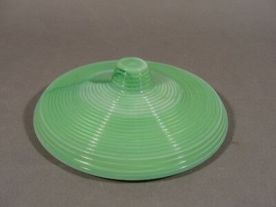 GREEN concentric ring slag glass LID for powder jar made by Akro Agate