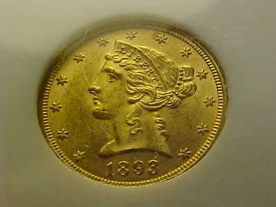 1893  Liberty  Half  Eagle  Gold $5 Ngc Ms 62 Lustrous Gem Coin