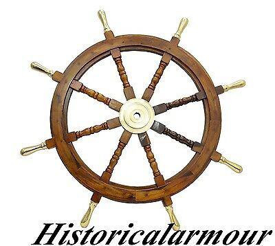 "Nautical 36"" Wood & Solid Brass hub Ship/Boat Steering Wheel, Maritime Decor 023"