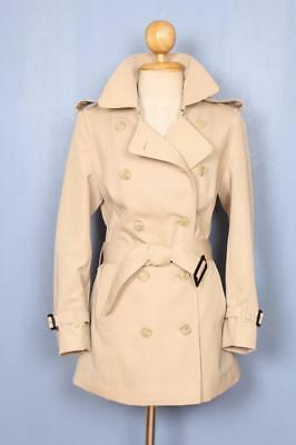 BEAUTIFUL Womens BURBERRY Double Breasted TRENCH Coat Mac SHORT Beige 6/8 Small