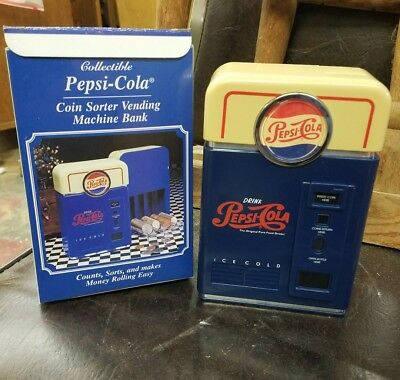 1998 Pepsi-Cola Vending Machine Design Coin Sorter Bank  MIB New  old stock