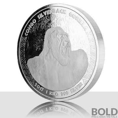 2017 1 KILO .999 Silver Republic of Congo Silverback Gorilla by Scottsdale Mint
