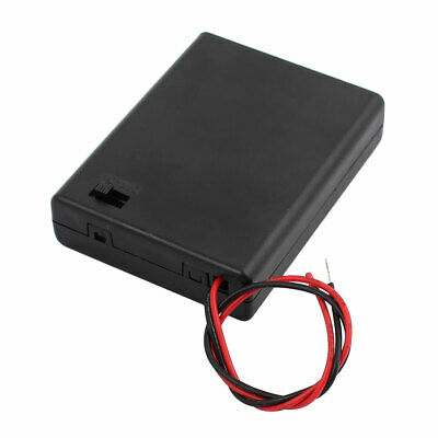 ON/OFF Switch 2 Wires Batteries Holder Box w Cover for 4 x 1.5V AA Battery