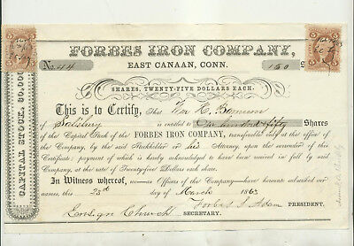 1863 Forbes Iron Company East Canaan Connecticut Stock Certificate