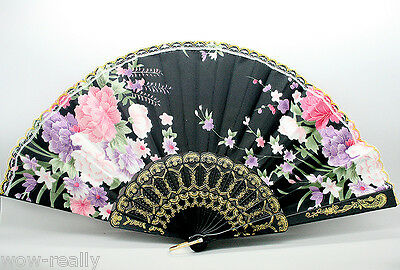 Hand Held Bamboo Black Flower Folding Fan Wedding Party Decor