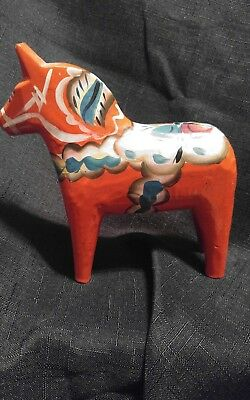 Vintage Red Swedish Dala Horse Handmade Folk Art Wood Nils Olsson 5""