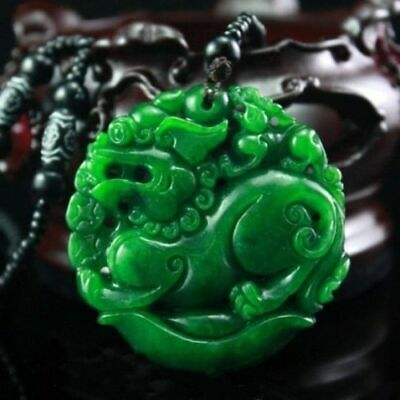 China 100% Natural Obsidian Green Jade Pendant Chinese Dragon Pixiu Lucky Donut