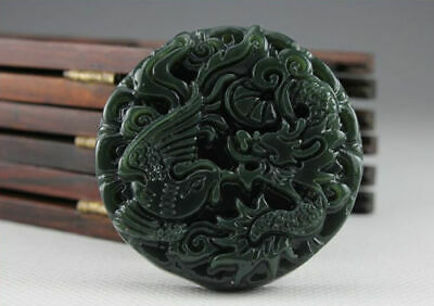 China 100% Natural Nephrite Hetian Green Jade Dragon and Phoenix Jade Pendant