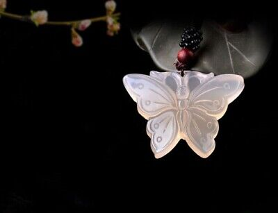 Chinese Beautiful Natural White Jade Hand-carved Lucky butterfly Jadeite Pendant