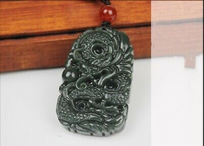China 100% Natural Nephrite Hetian Green Jade Dragon Harmony Jade Pendant