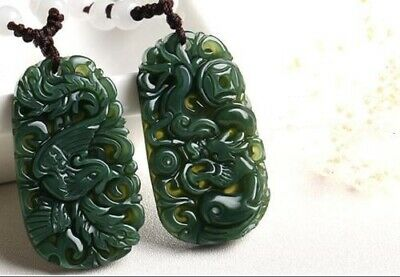 A pair Natural Green Hetian Hand-Carved Jade Dragon And Phoenix Pattern Pendant