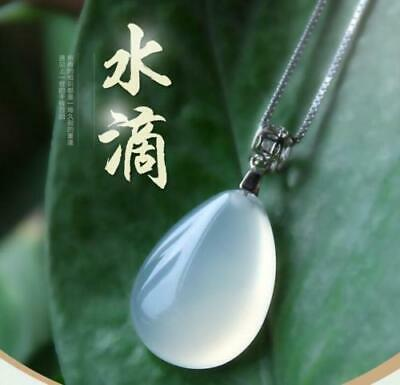 Chinese Beautiful Natural White Jade Hand-carved Lucky Water Jadeite Pendant