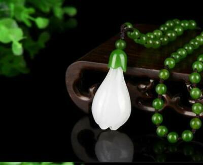 Chinese Natural White Color Jade Hand-carved Harmony Lucky Flower Pendant