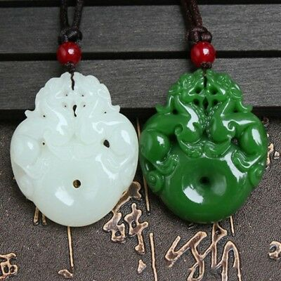 China 100% Natural Nephrite Hetian White/Green Jade Two Pixiu Jade Pendant