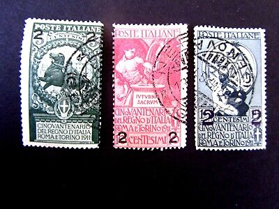 Italy #126-128, Surcharge Union of Italian States 50th Anniv, Used/F/LHR, 1913
