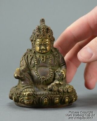 Tibetan Bronze Seated Deity / Buddha, Fruit & Animal, Early 20th Century