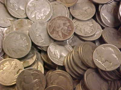 Buffalo Nickel Over 600 Coins Full, Part, No Date Mix, 15 Unsearched Rolls  Lot