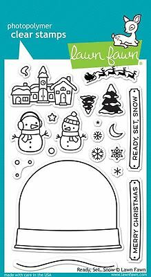 Lawn Fawn - Clear Stamp Set - Ready, Set, Snow - Christmas