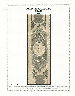 Canada Revenue G-138Tp Tobacco Excise Tax Stamp