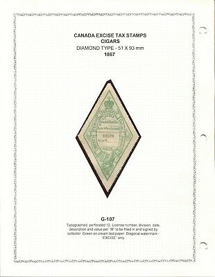 Canada Revenue G-107 Tobacco Excise Tax Stamp