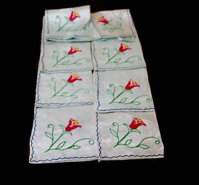 Vintage set of 8 embroidered flower napkins
