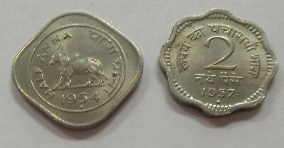 1954 Half Anna & 1957 2 Anna * Lot of 2- India Beautiful High Grade Coins