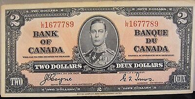 1937 Bank of Canada Two Dollar Lightly Circulated Note   ** FREE U.S SHIPPING **