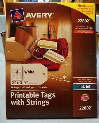 """Avery Printable Tags with Strings 22802  12 Sheets  96 Tags  2"""" x 3.5"""""""
