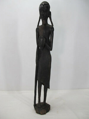 Antique African Kenya Tribal Hand Carved Spear Warrior Sculpture Statue NR  yqz