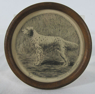 Antique Jacques Rebour English Setter Dog Portrait Lt Ed Miniature Engraving yqz