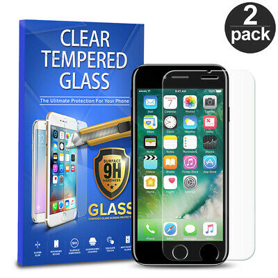 For Apple iPhone 7 Tempered Glass Screen Protector Phone Cover 2-PACK