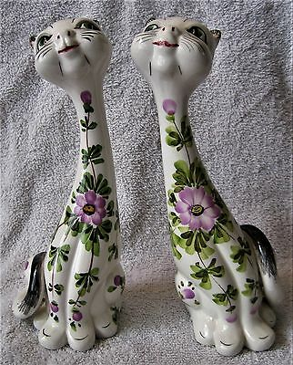 Vintage - Set Of Two - Long Neck Cats - Made In Italy - Highly Collectible -Rare