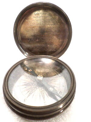 Brass Case Pocket Compass With Robert Frost Poem Inscribed